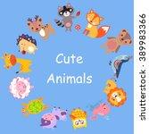 cute animals walking around... | Shutterstock . vector #389983366