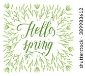 hello spring greeting card ... | Shutterstock .eps vector #389983612