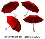 set of red umbrellas. digital... | Shutterstock . vector #389986222