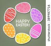 easter card with paper painted... | Shutterstock .eps vector #389987716