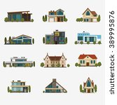 houses icons. set of 12 icons... | Shutterstock .eps vector #389995876