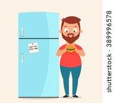 cute cartoon character standing ... | Shutterstock .eps vector #389996578