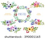 colorful floral collection with ... | Shutterstock . vector #390001165