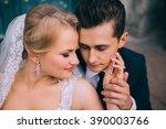the bride and groom posing in... | Shutterstock . vector #390003766