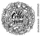 coffee round design in outline...   Shutterstock .eps vector #390005965