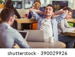 attractive young man is having... | Shutterstock . vector #390029926