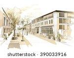 old town pedestrian street... | Shutterstock . vector #390033916
