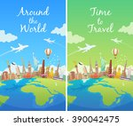 travel to world. landmarks on... | Shutterstock .eps vector #390042475