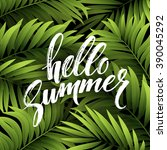 summer party poster with palm... | Shutterstock .eps vector #390045292