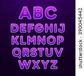neon light alphabet font.... | Shutterstock .eps vector #390045442