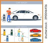 car wash illustration. man... | Shutterstock .eps vector #390046456