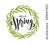 words spring with wreath ... | Shutterstock .eps vector #390047302