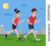 man running. woman running.... | Shutterstock .eps vector #390049966