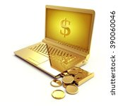 golden laptop with a dollar... | Shutterstock . vector #390060046