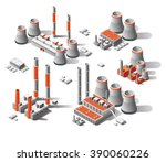 vector flat 3d isometric set... | Shutterstock .eps vector #390060226
