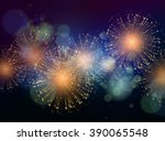 holiday fireworks background.... | Shutterstock . vector #390065548