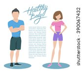 fitness couple with handwritten ... | Shutterstock .eps vector #390067432