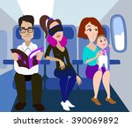 passengers of the airplane... | Shutterstock .eps vector #390069892