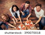 top view of young people in... | Shutterstock . vector #390070018