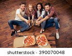top view of young people in... | Shutterstock . vector #390070048