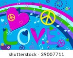 love peace and hearts | Shutterstock .eps vector #39007711
