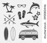 surfing  summer rest and travel ... | Shutterstock .eps vector #390083446