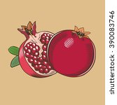pomegranates in vintage style.... | Shutterstock .eps vector #390083746