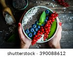 green detox smoothie with... | Shutterstock . vector #390088612