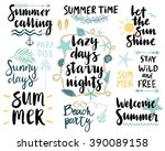 summer lettering design set  ... | Shutterstock .eps vector #390089158