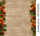 border of spring flowers on a... | Shutterstock . vector #390103366