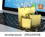 laptop and  shopping pags on... | Shutterstock . vector #390109558