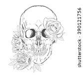 skull and flowers. vector... | Shutterstock .eps vector #390121756