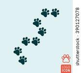 cat paw icon. cat trail symbol. ...