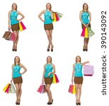 woman with shopping bags... | Shutterstock . vector #390143092