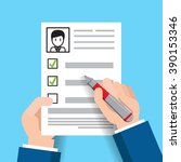 job interview concept with... | Shutterstock .eps vector #390153346