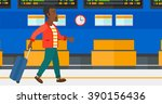 man walking with suitcase. | Shutterstock .eps vector #390156436