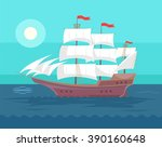 Old Ship. Vector Flat Cartoon...