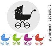 set of five prams  vector... | Shutterstock .eps vector #390165142