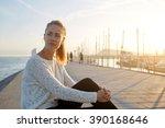beautiful thoughtful female... | Shutterstock . vector #390168646