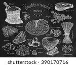 mediterranean menu  flour ...   Shutterstock .eps vector #390170716