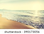 beautiful sunset with sea and... | Shutterstock . vector #390173056