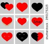set  hearts for your design | Shutterstock .eps vector #390175225
