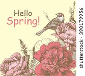 hello spring background with... | Shutterstock .eps vector #390179956