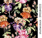 watercolor pattern with flowers ... | Shutterstock . vector #390184222