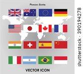 set of flags. vector... | Shutterstock .eps vector #390194278