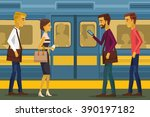People In Subway. Vector Flat...