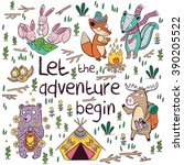 let the adventure begin. hand... | Shutterstock .eps vector #390205522