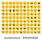 great set of 99 yellow emotions ... | Shutterstock .eps vector #390205828