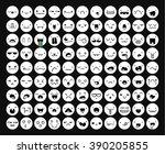 great set 99 white emotion... | Shutterstock .eps vector #390205855
