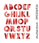 retro font in pink. alphabet... | Shutterstock .eps vector #390206926